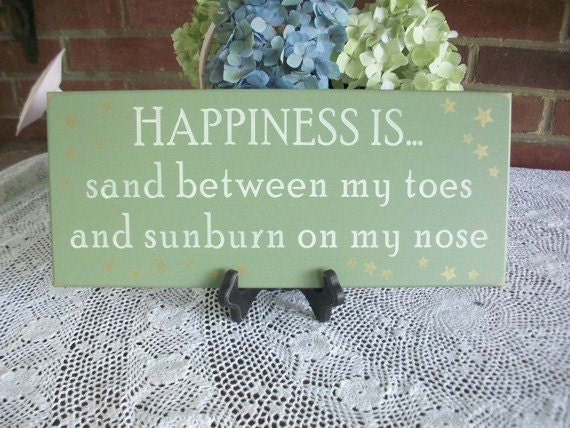Beach Sign Happiness is Sand Toes and Sunburn Nose - Wood - Wall Decor- Coastal Decor - Wall Art