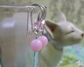 earrings for Junior Girls Baby Pink and Swarovski Crystals