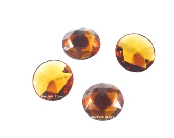 4 Amber Faceted Jewels, 25 mm