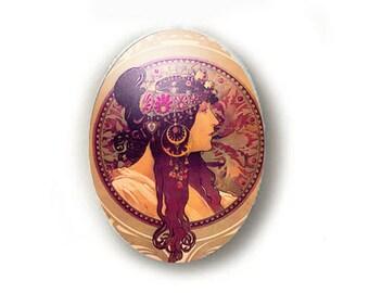 Gypsy Alphonse Mucha Unset Porcelain Cameo Cabochon 40x30mm Handmade