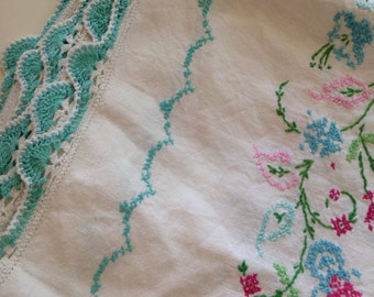 reserved Vintage cottage linen tablecloth crochet and embroidery