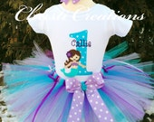 Baby Girl 1st Birthday Outfit - Mermaid Tutu Set - Purle and Aqua - Cake Smash Outfit - Mermaid Birthday