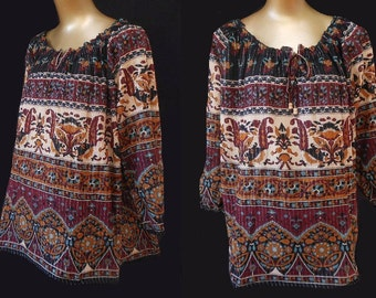Vintage 70s Style Cotton Gauze East Indian Boho Ethnic Border Block Print Festival Blouse, XXL, 1X
