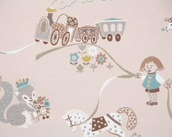 1950s Vintage Wallpaper by the Yard - Children's Wallpaper Squirrel Bunny and Lamb on Pink
