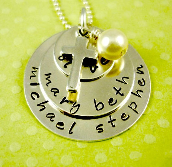 Mom Grandma Hand Stamped Necklace - Blessings Personalized  Handstamped Jewelry - Mother's Day - - Sterling Cross by RoseCreekCottage