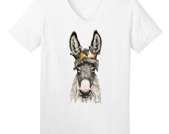 Donkey Crown Ladies V-Neck T-shirt Burro Mule Art Sizes S-3X