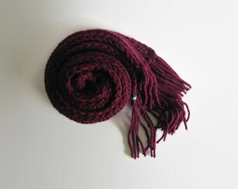 Burgundy Scarf, Chunky Knit Scarf, Long Scarf, Womens Scarves, Winter Scarf, Hand Knit Scarf, Scarf with Fringes, Wool Scarf