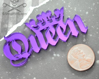 QUEEN CABOCHON- In PURPLE mirror Laser Cut Acrylic
