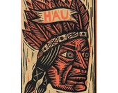 Native American Greeting Card Hau Linocut Letterpress Card