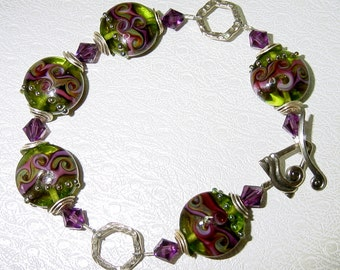 Beautiful Lampwork Sterling Silver Swarovski Crystals Large Size Bracelet