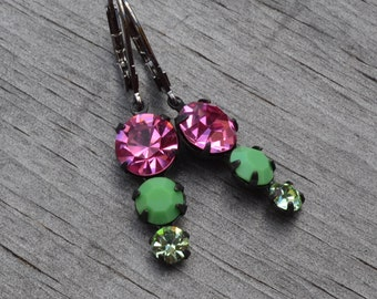 Pink and Green Swarovski Earrings, Peridot, Mint Green, Lever Back Pendant, Ombre Graduated Glass Rhinestone, Bridesmaid Earrings