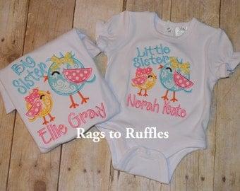 Little Sister Applique Personalized Bodysuit Custom made Little Sis Shirt