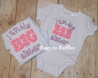 Custom Monogrammed Big Sister & Little Sister Applique shirt