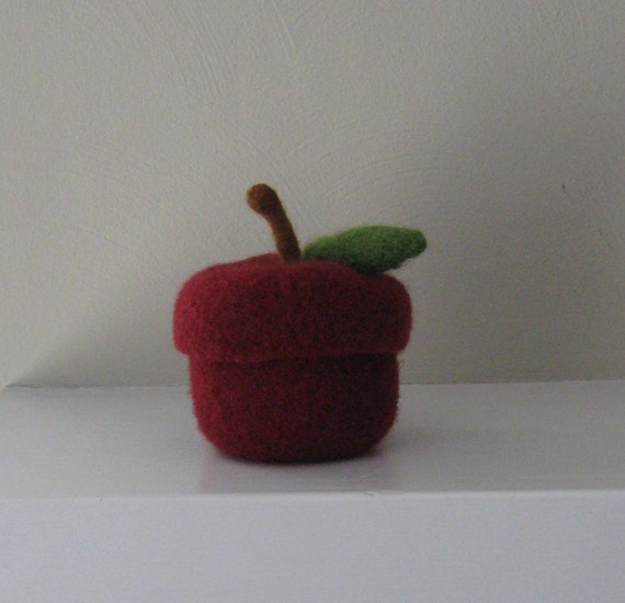 Felted Wool Red Delicious Apple Jar with Removable Lid - Made-to-Order