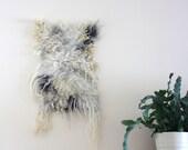 Wool Wall Hanging, White Felt Tapestry, Minimal Fibre Art, Small Felt Rug, Photography Props New Born
