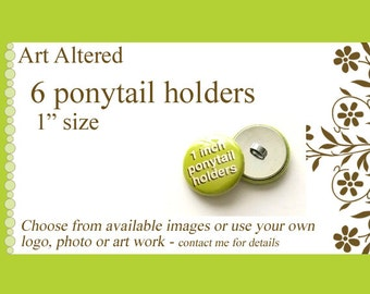 """Your Choice 6 Ponytail Holders Hair Ties 1"""" choose from available images party favors stocking stuffers office gifts pony tail holders flair"""