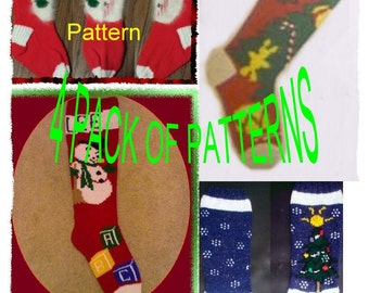 Snowman And Christmas Tree 4-Pack of  Knit Stocking Patterns