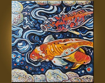 Art Painting -- Abstract Koi -- 20 x 20 inch Original Oil Painting by Elizabeth Graf on Etsy, Art Painting, Original Painting
