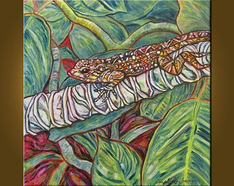 Garden Gecko --  20 x 20 inch Original Oil Painting by Elizabeth Graf on Etsy -- Art Painting, Art & Collectibles