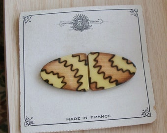 Antique Made in France Celluloid and Metal Buckle