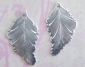 NEW 2 Silver Leaf Charms 3608