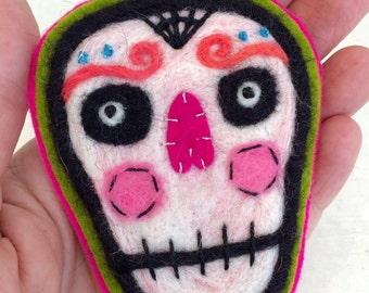 Sugar Skull Needle Felted Brooch by Val's Art Studio - Choose Your Favorite Design, Handmade Day of the Dead Skull Pin, Dias de los Muertos