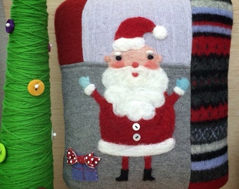 Needle Felted Folk Art Santa Claus Pillow made from Recycled Sweater Fabric by Val's Art Studio