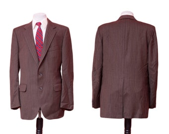 Men's Suit / Vintage Brown Blazer and Trousers / Herringbone Pinstripe / Size 42 Long