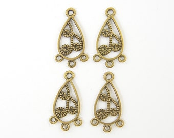 4 Pcs Small Antique Gold Teardrop Filigree Chandelier Earring Findings  G6-15 2