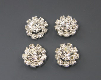 Flat Back Rhinestone Buttons Jewelry Supply for Bridal Wedding DIY Crafts Silver Round Earring Finding |LG1-1|4