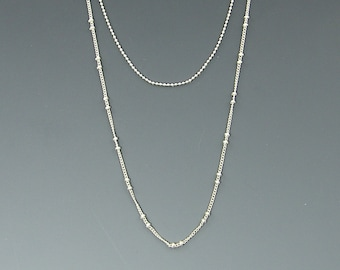 Double Chain Necklace Silver Plated Chain for Layered Necklaces Tiny Ball Chain and Ball with Curb |S10-7|1