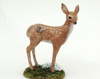 Fawn with Monarch Butterfly Original Deer Sculpture