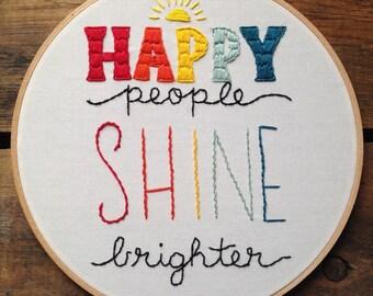 Happy People Embroidery Hoop