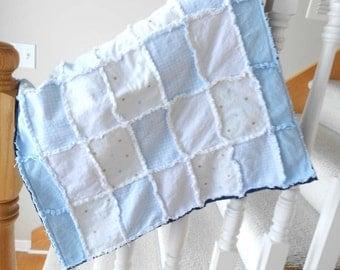 Baby Blanket, Cuddle Blanket Rag Quilt, Small Quilt, Lovie - Little Boy Blue  - READY MADE