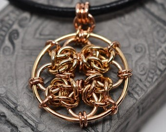Solid bronze celtic knot chainmaille pendant