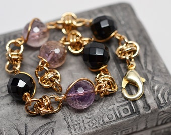 Jewelers brass, faceted ametrine & onyx beaded barrel chain chainmaille bracelet