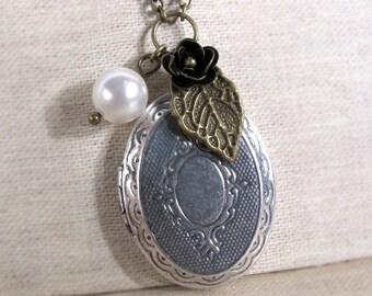 Vintage Victorian Style Locket. Nature woodlands inspired. Leaf, flower, Swarovski pearl and antiqued silver locket Necklace