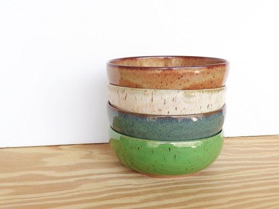 Instant Collection Stoneware Pottery Bowl Set - 4 Bowls - 4 Glazes