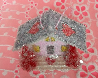 SALE Vintage Retro Putz Style Miniature Pink Glitter Sugar House Shabby Valentine Village Ornament with Red Pines and a Hearts and Lace Roof