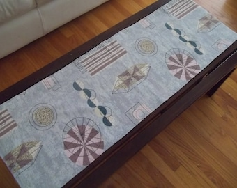 Midcentury Table Runner Eames Era Barkcloth