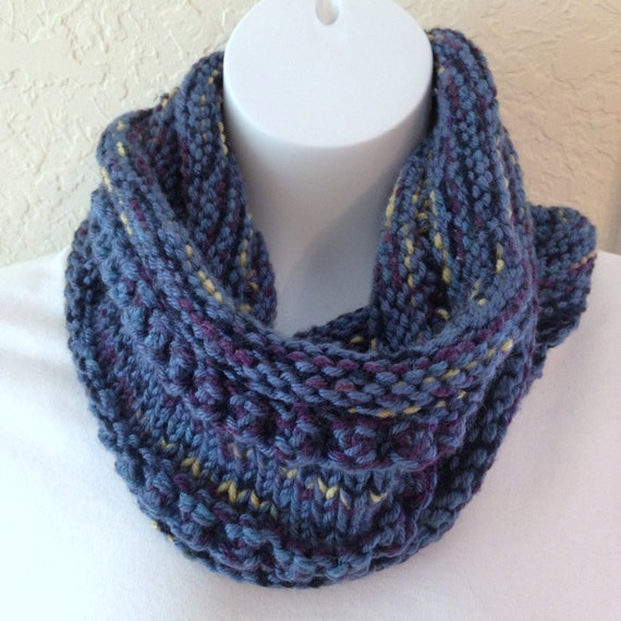 Knit Scarf Pattern With Bulky Yarn : Hand Knit Infinity Scarf Cowl Shades of Blue Bulky Acrylic