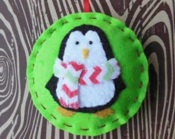 Felt Penguin Christmas Ornament - Cozy Winter Penguin No. 8 - SALE