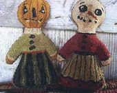 Primitive Needle Punch Dolly Pattern Pumpkin and Holly Snowman Snowgirl