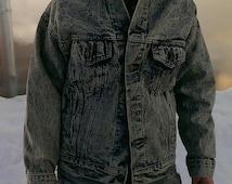Montana Jean Jacket Vintage 80's Acid Wash Levi Jacket Size M