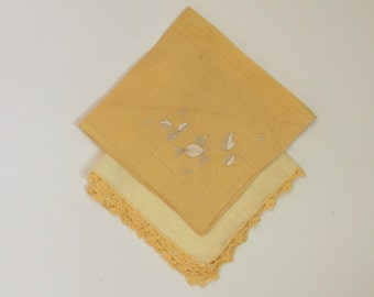 two vintage yellow gold linen handkerchiefs - 1970s