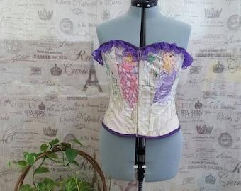 Miss Piggy Muppets Kermit The Frog Fashion Corset Top Purple Lace Vintage Fabric  38-42 bust