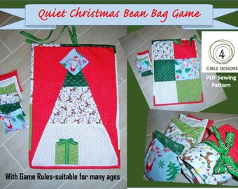 Instant Download: New Quiet Christmas Holiday Bean Bag Game DIY Handmade Sewing Pattern. Multiple Games