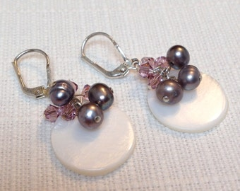 White Shell with Lavender Crystals and Pearls Earrings