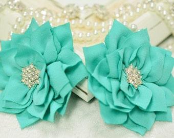 New! 2pcs Handmade fabric flowers--tro. turquoise (FB1027)