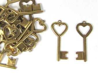Brass Heart key set of 12, 1 5/8 inch x 5/8 stamp Initials on the key I used a 2mm letter for the example